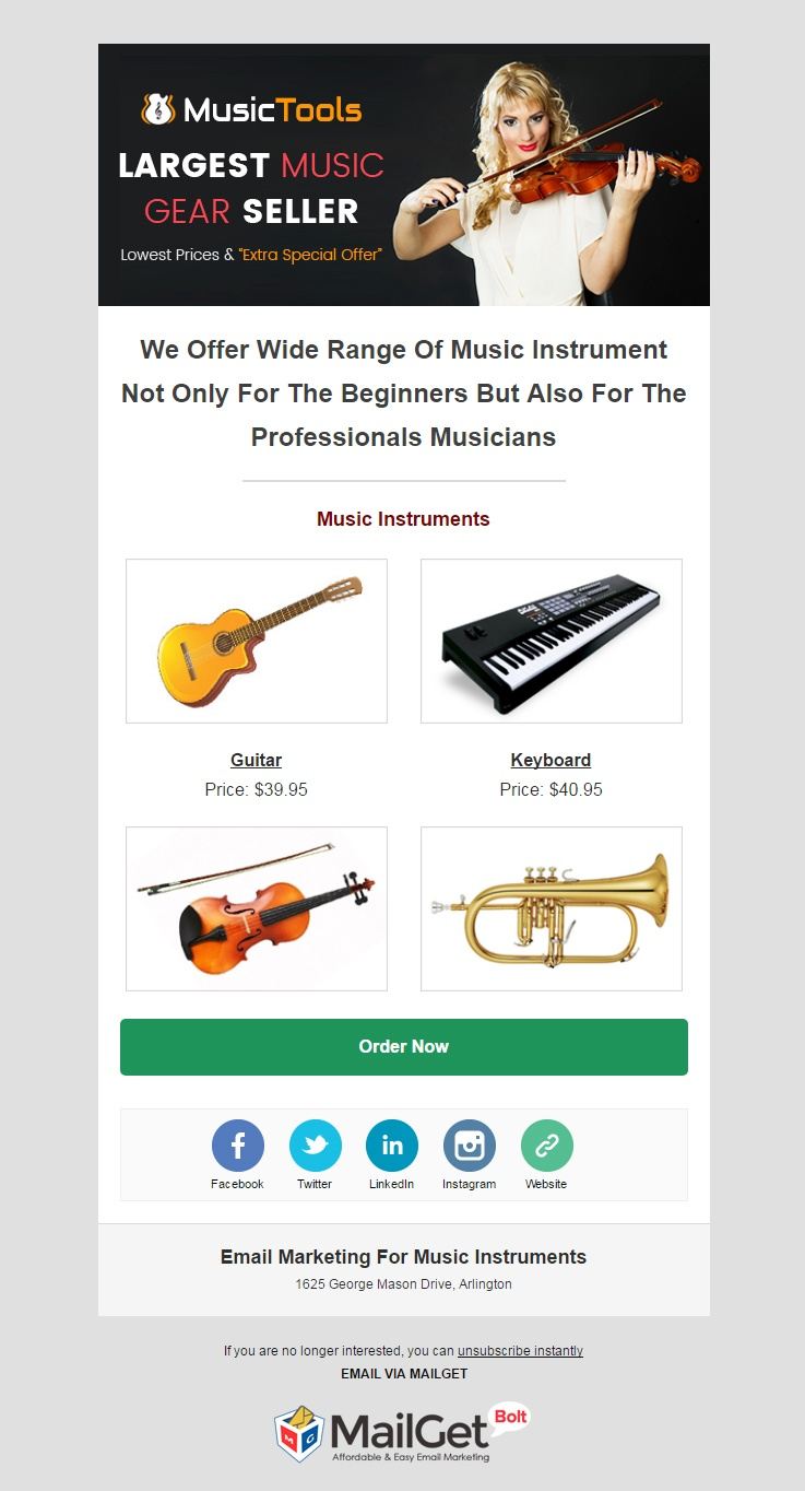 Music Instruments Email Template
