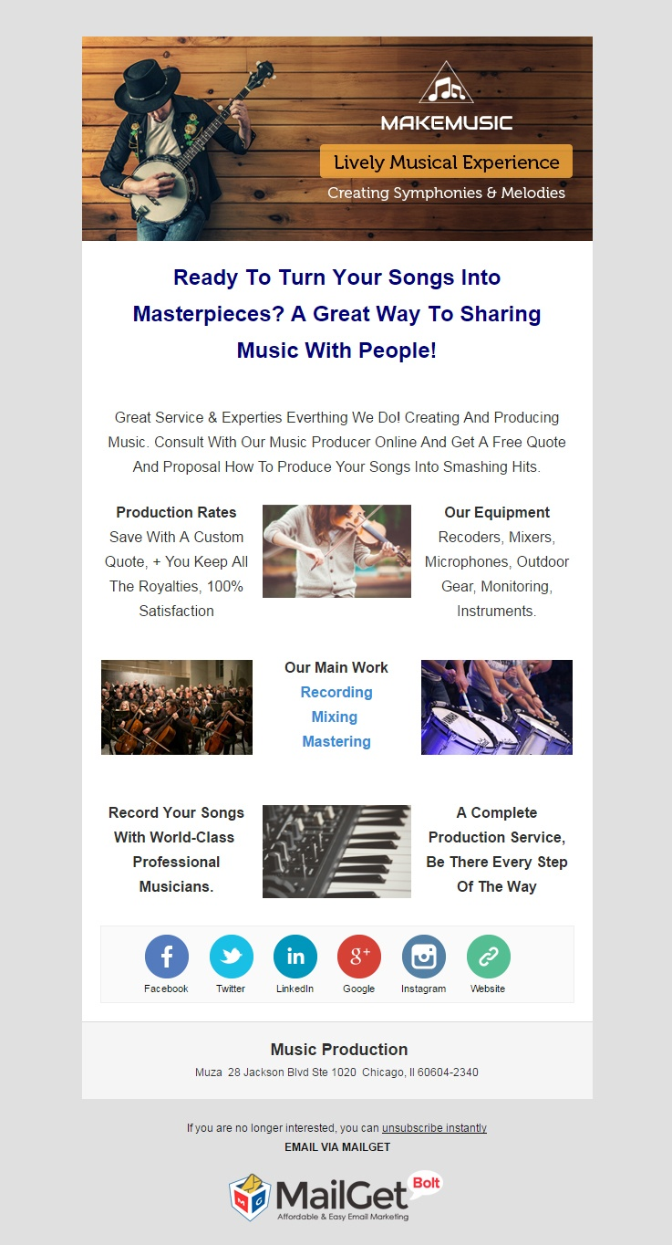 Music Production Email Template