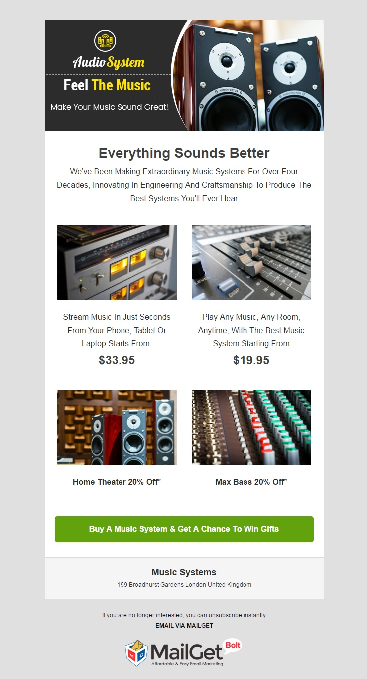 Music System Email Template