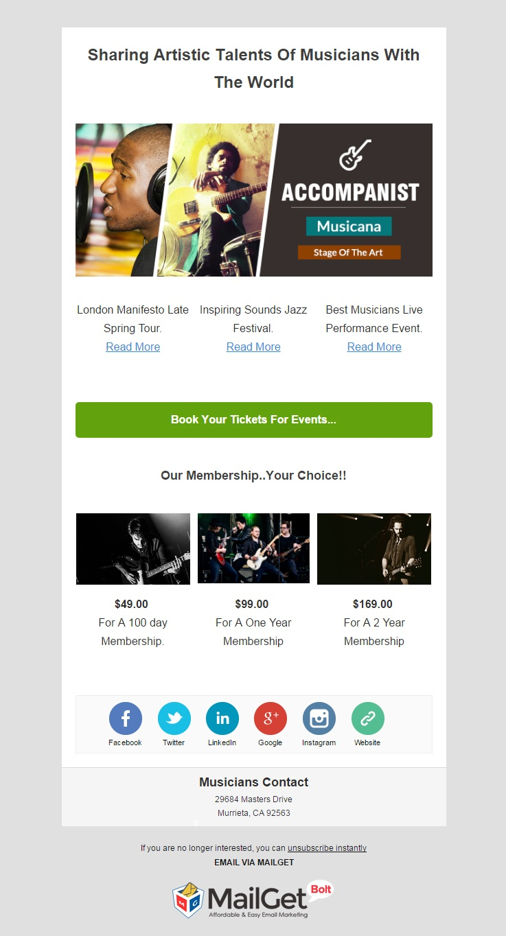 9 Best Music Email Templates For Musiciansorchestras Formget
