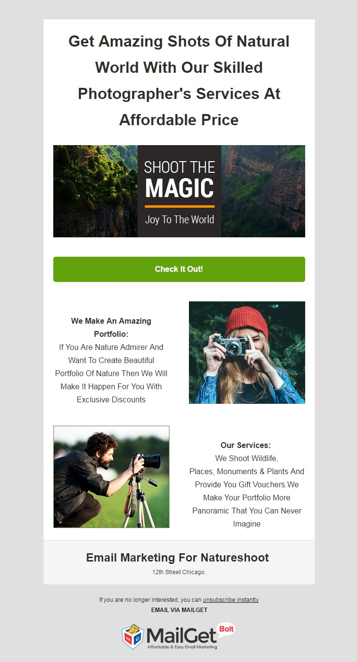 Nature Photography Email Template