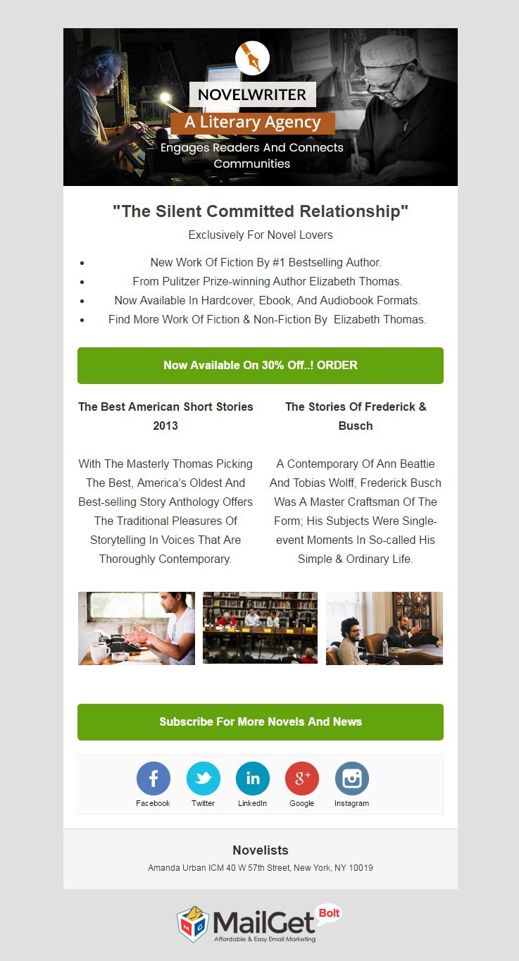Novelist Email Template