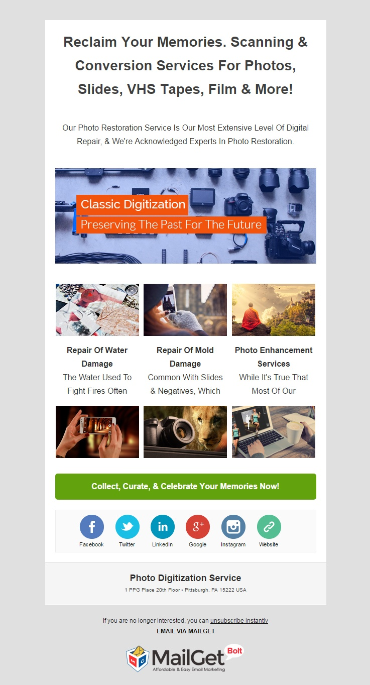 Photo Digitization Service Email Template