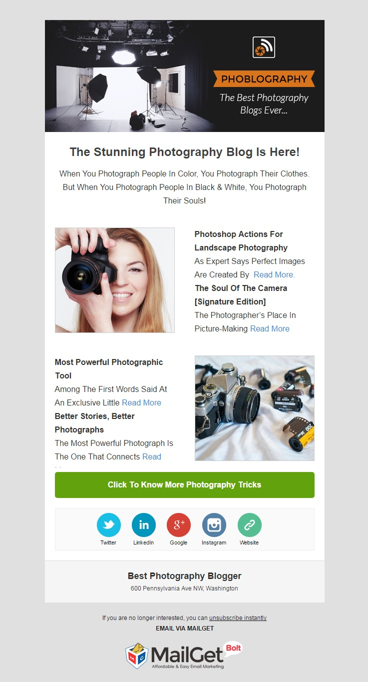 Photography Blogger Email Template
