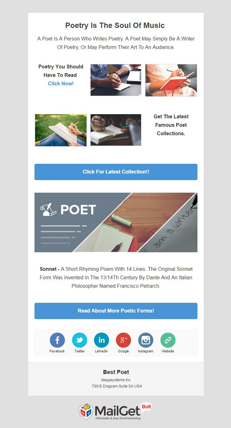 Email marketing for Poets & lyricists