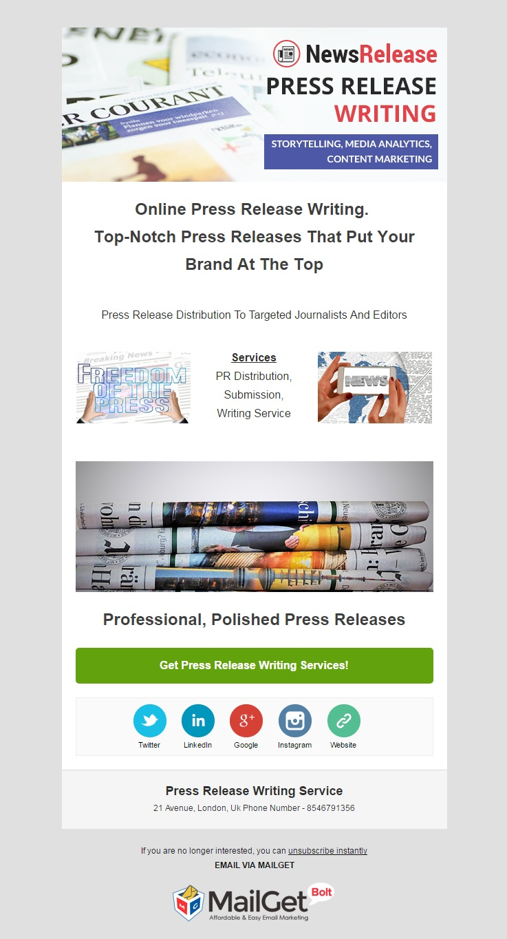 Press Release Writing Email Template