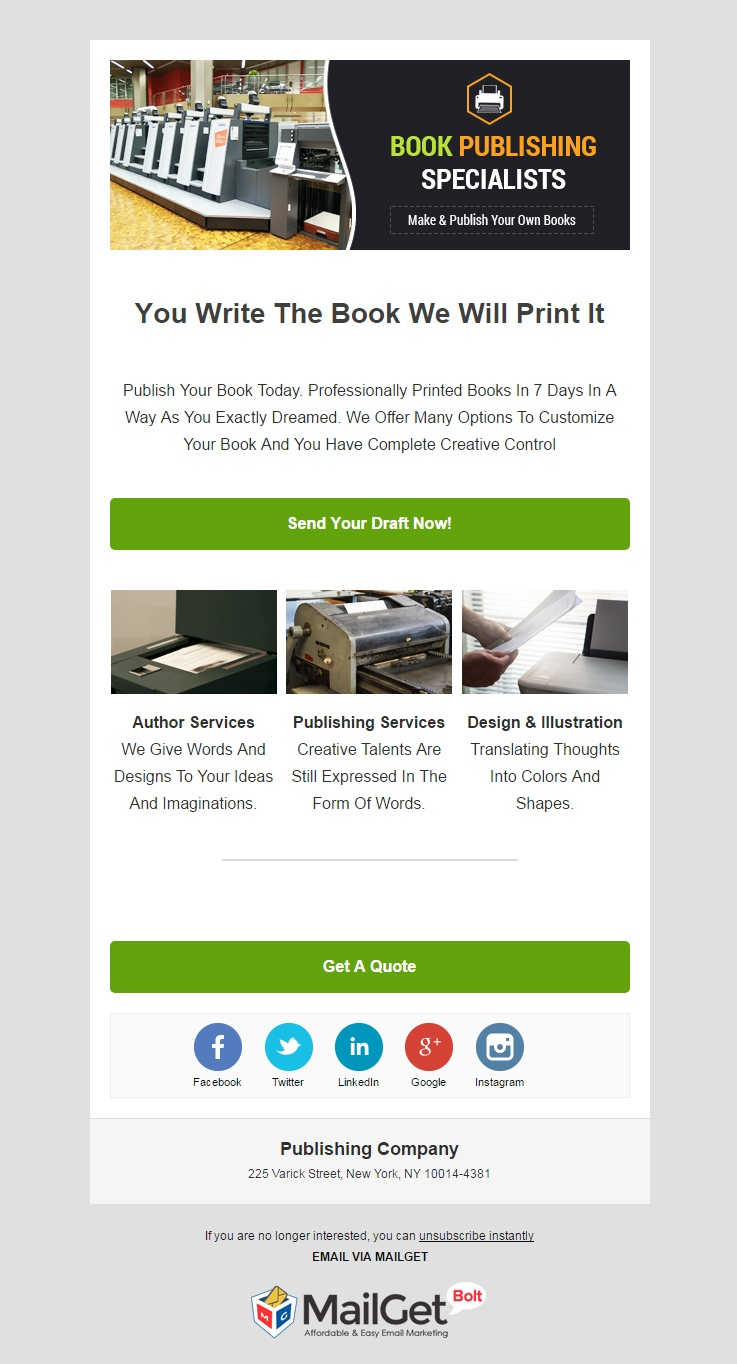 Publishing Company Email Template