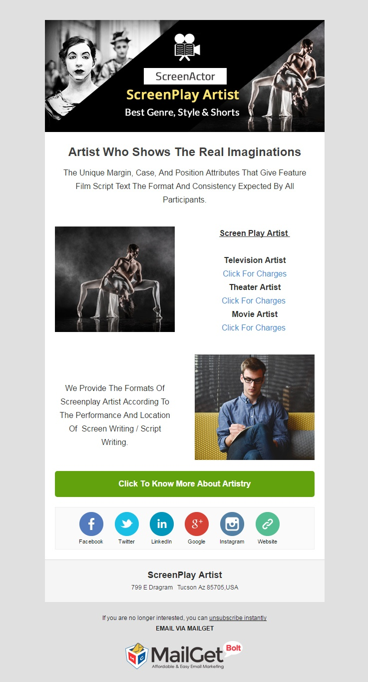 Screenplay Artists Email Template