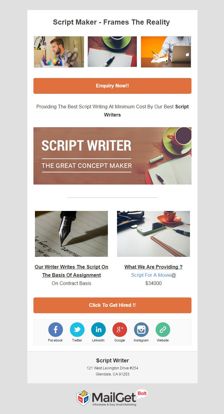 Email marketing for Script screen writer