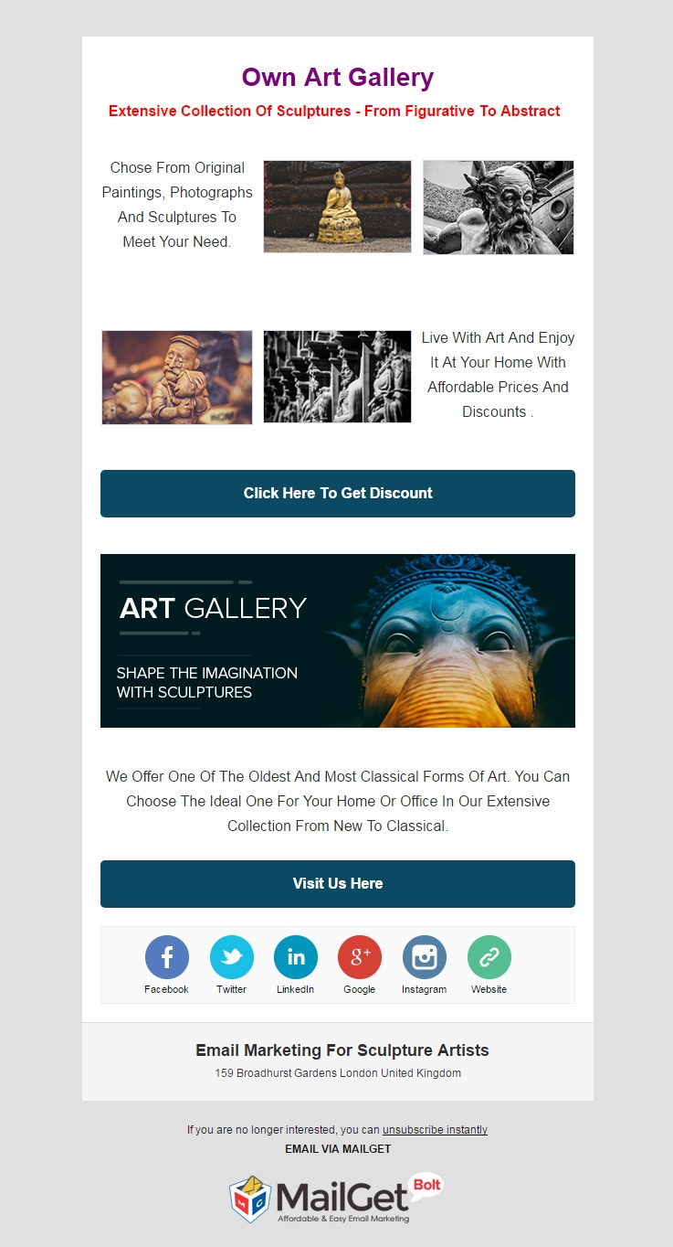 Sculpture Artists Email Template