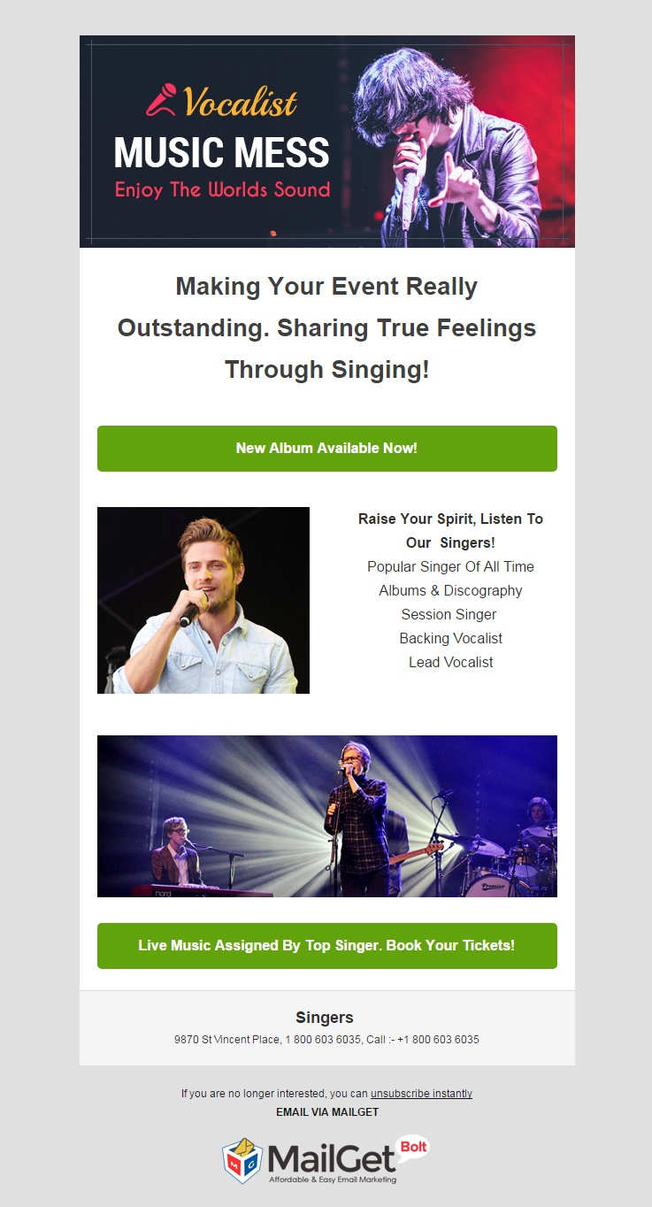 Singers Email Template