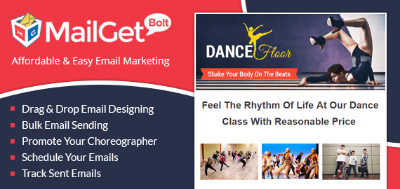 email marketing for choreography slider