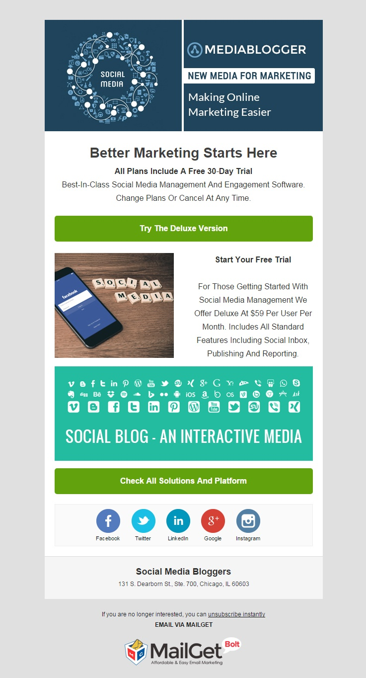 Social Media Blogger Email Template