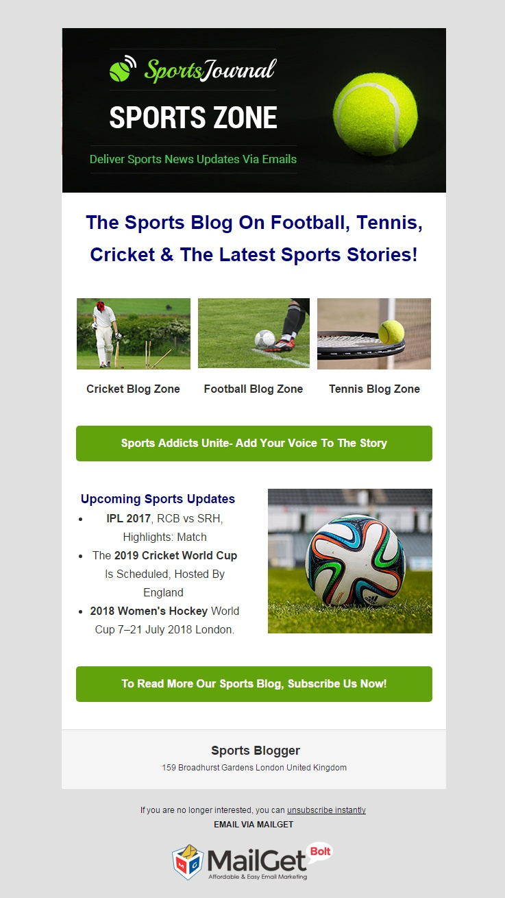 Sports Blogger Email Template