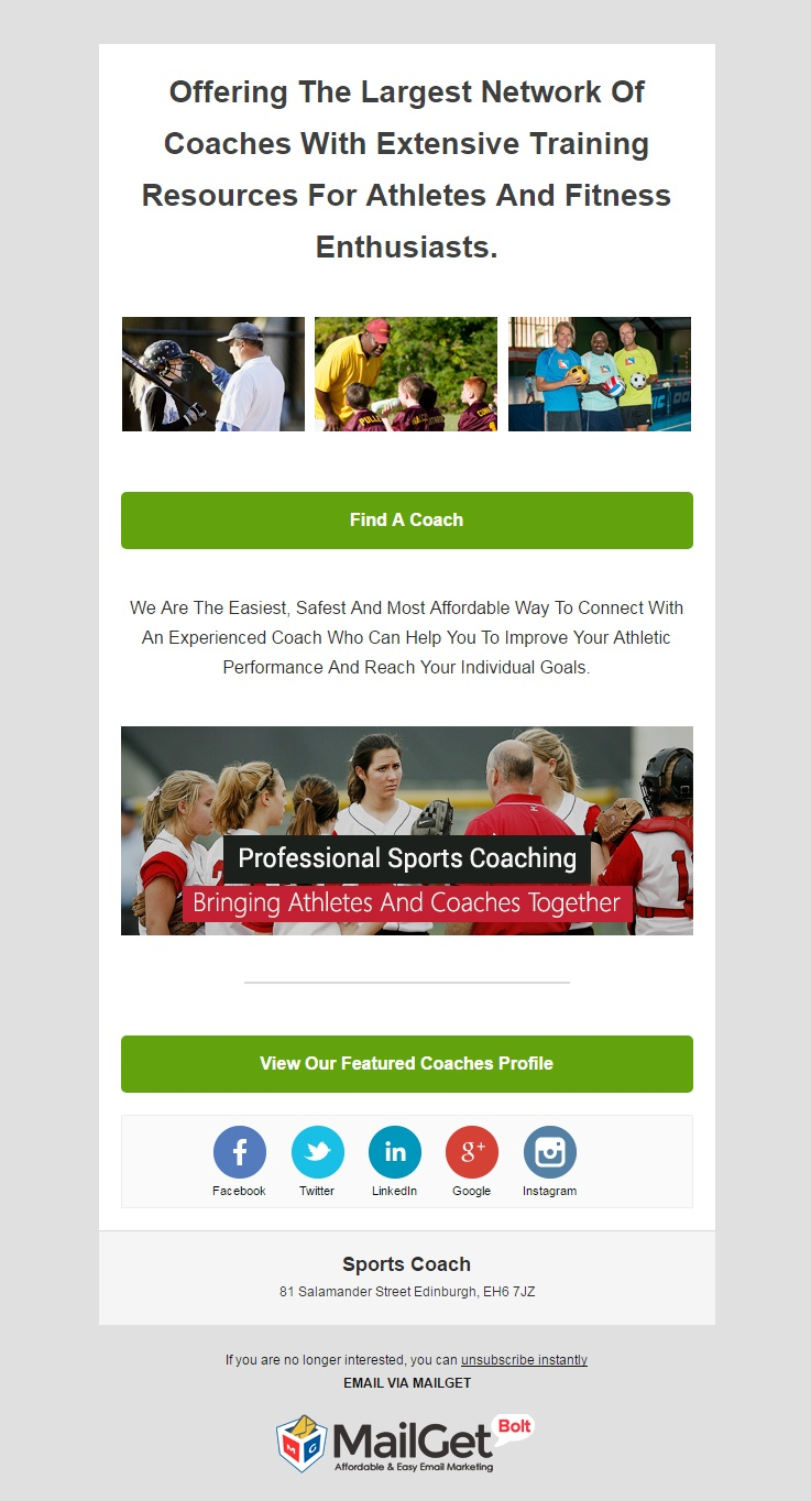 Sports Coach Email Templates