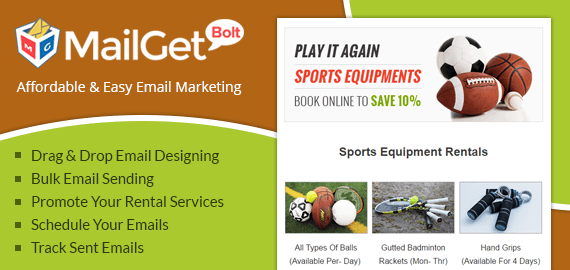 Sports Equipment Rental Email Marketing Service For Game Gear