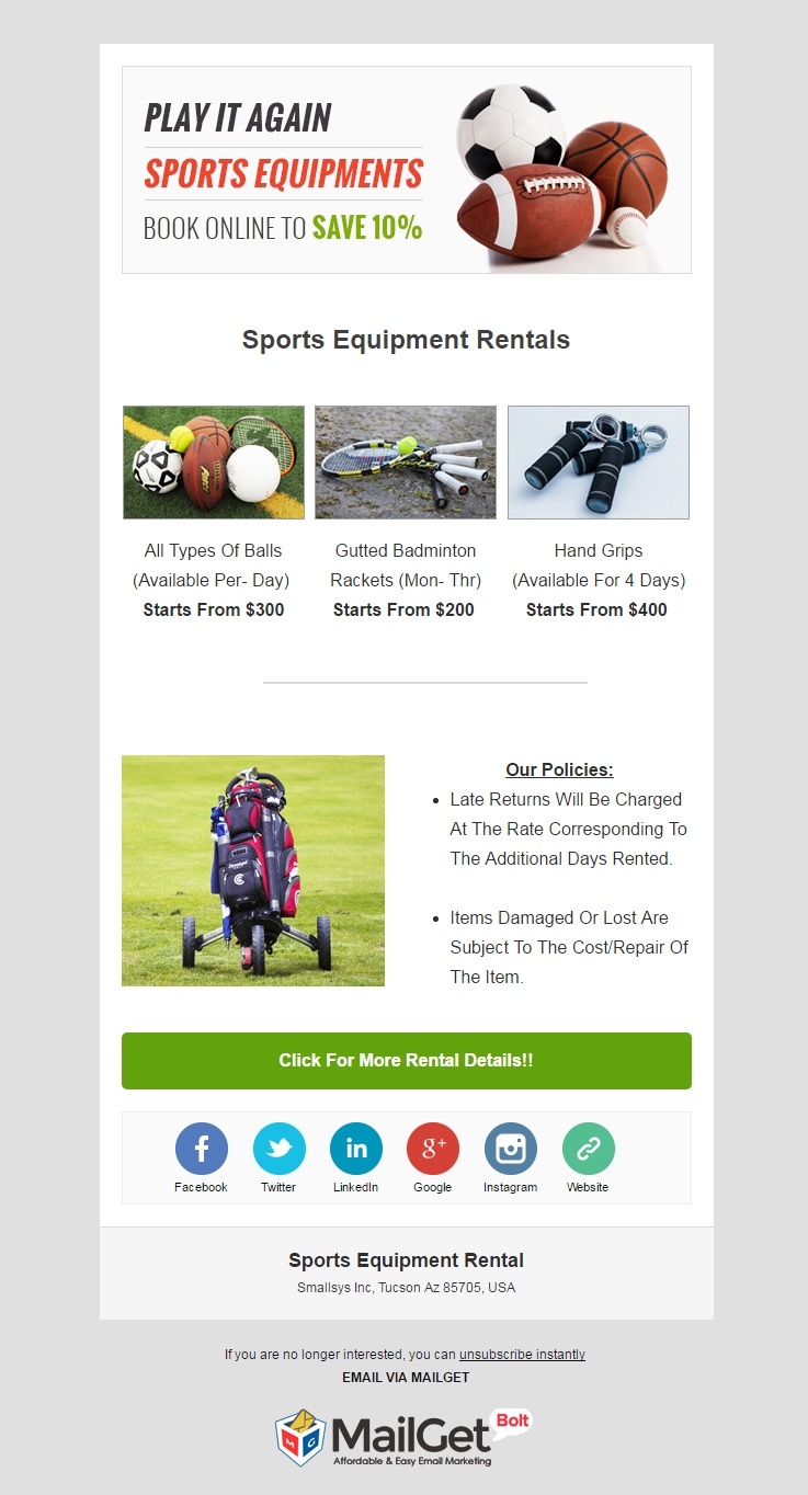 Sports Equipment Rental Email Templates