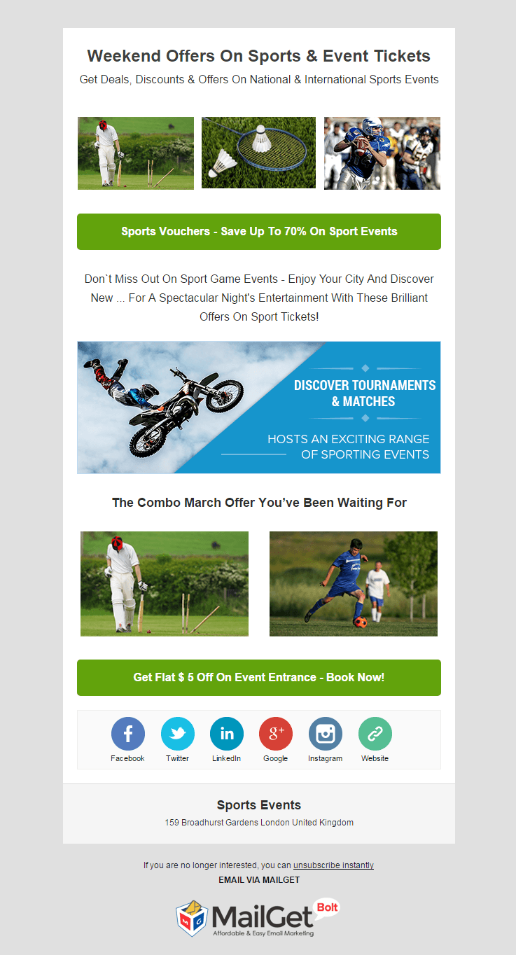 Sports Events Email Template