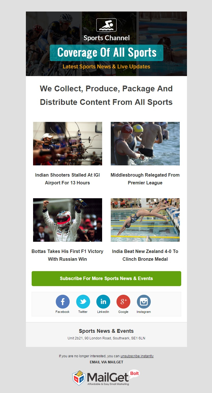 Sports News & Events Email Template