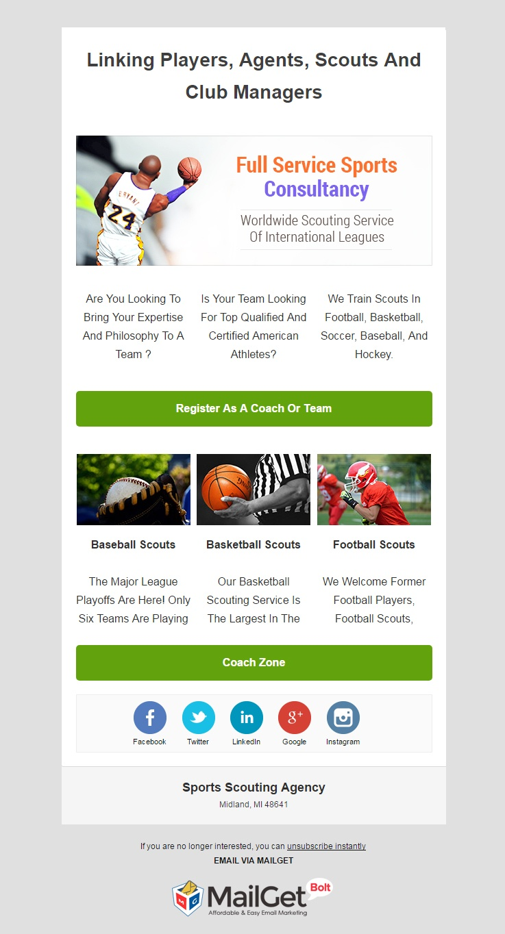 Sports Scouting Agency Email Templates