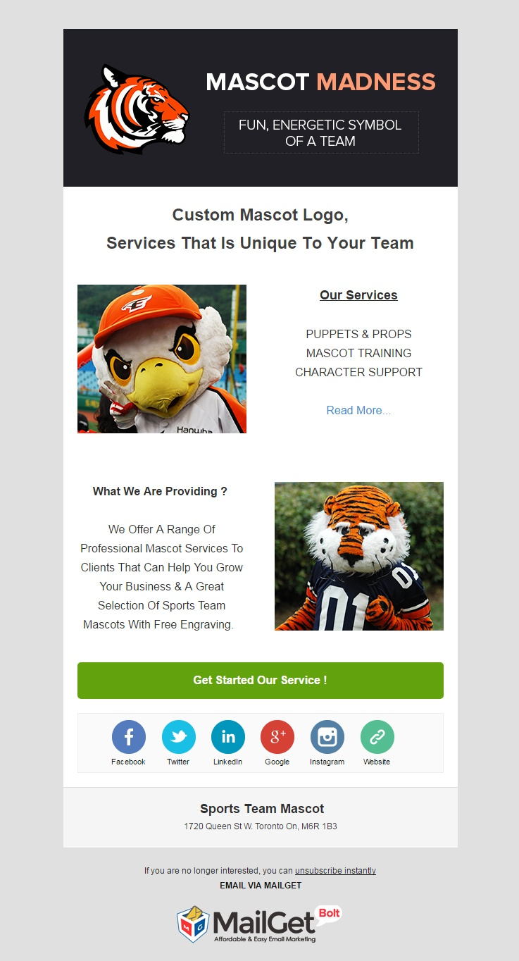 Sports Team Mascot Email Templates