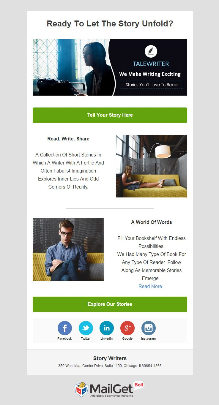 Story Writer Email Template