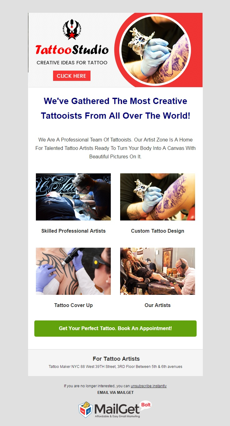 Tattoo Artists Email Template