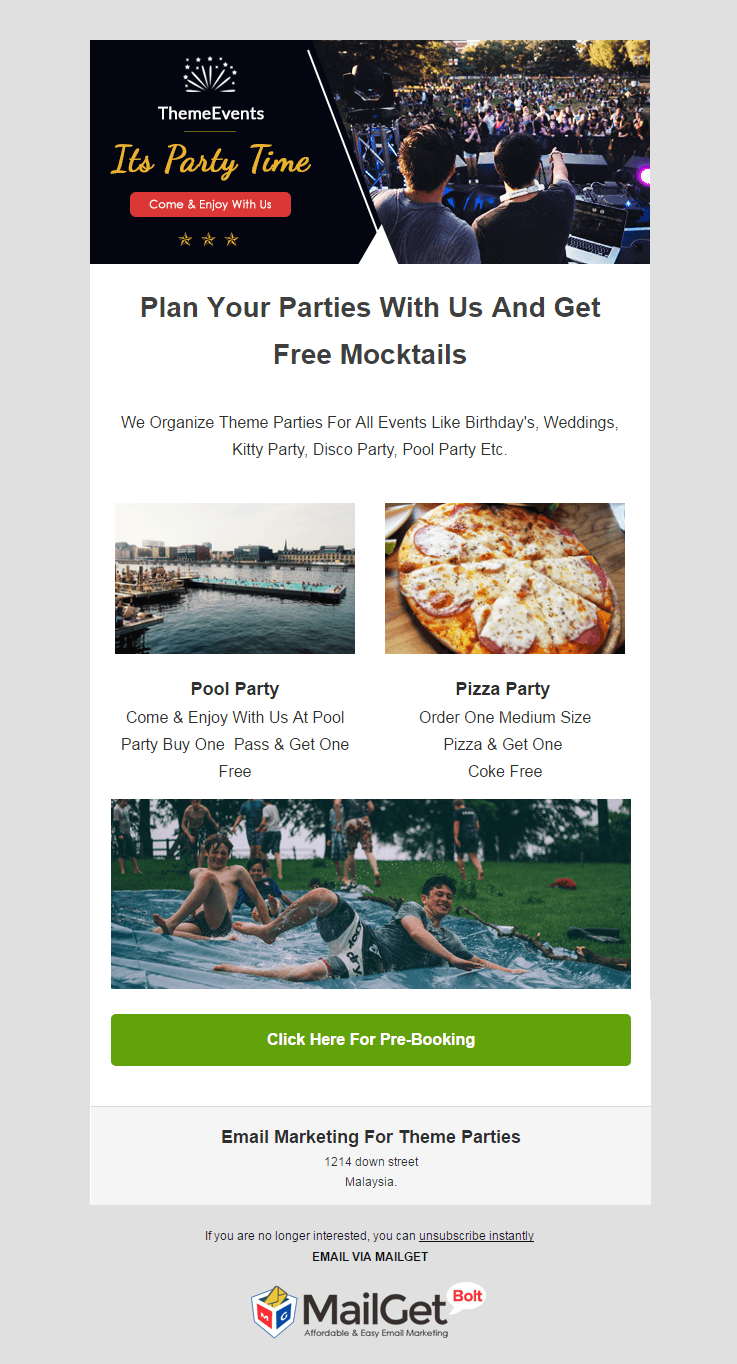 Theme Parties Email Template