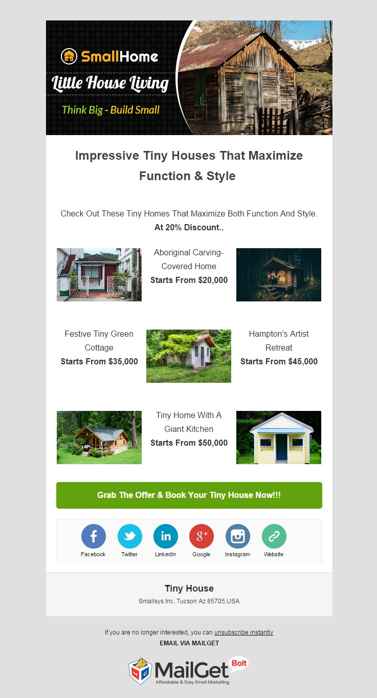 email marketing template for Tiny House