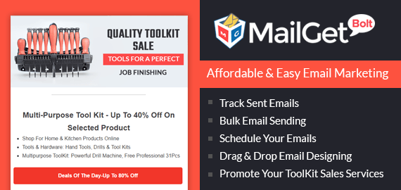 Tools Kit Sales Email Marketing Service For Instruments & Hardware Stores