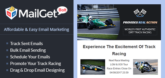 Track Racing Email Marketing Service Slider