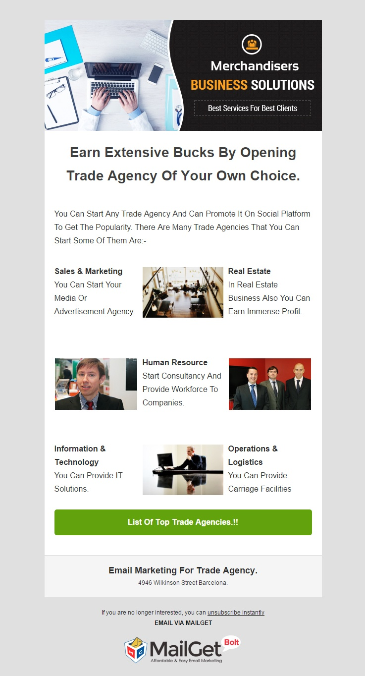 Trade Agency Email Template
