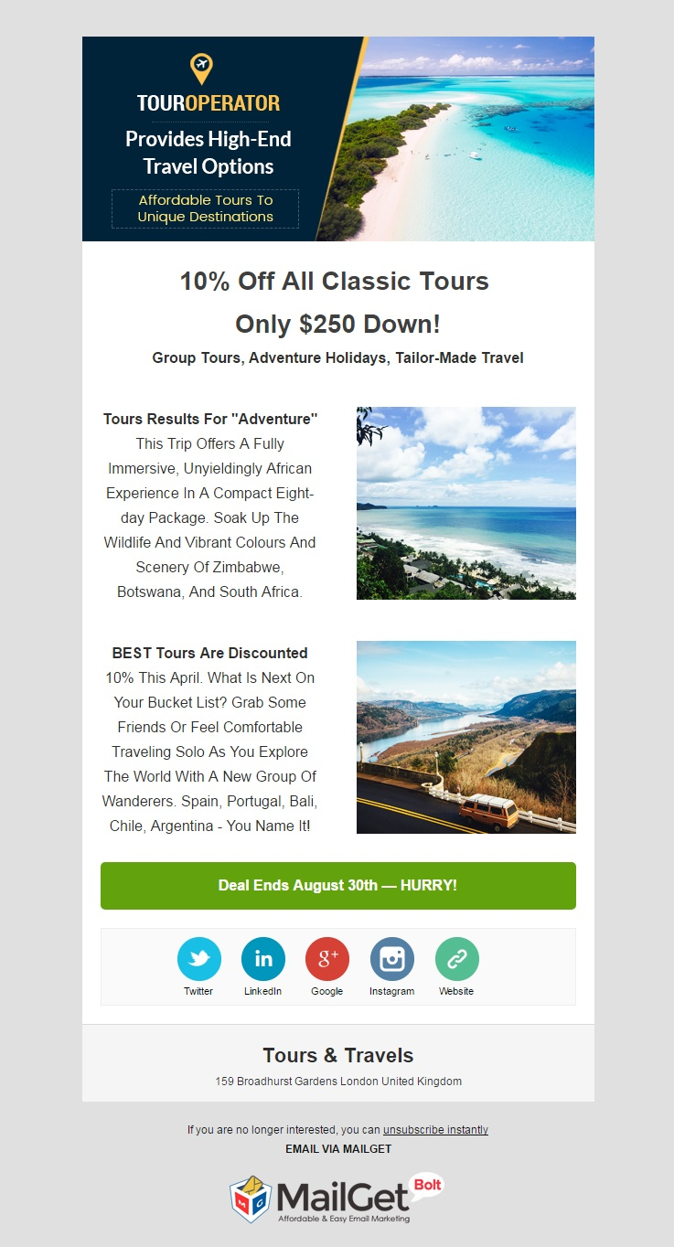 Travel Agency Email Template