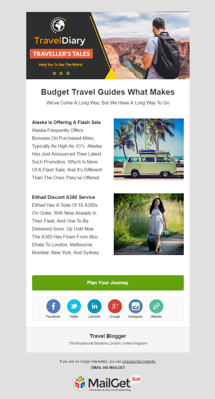 Travel Blogger Email Template