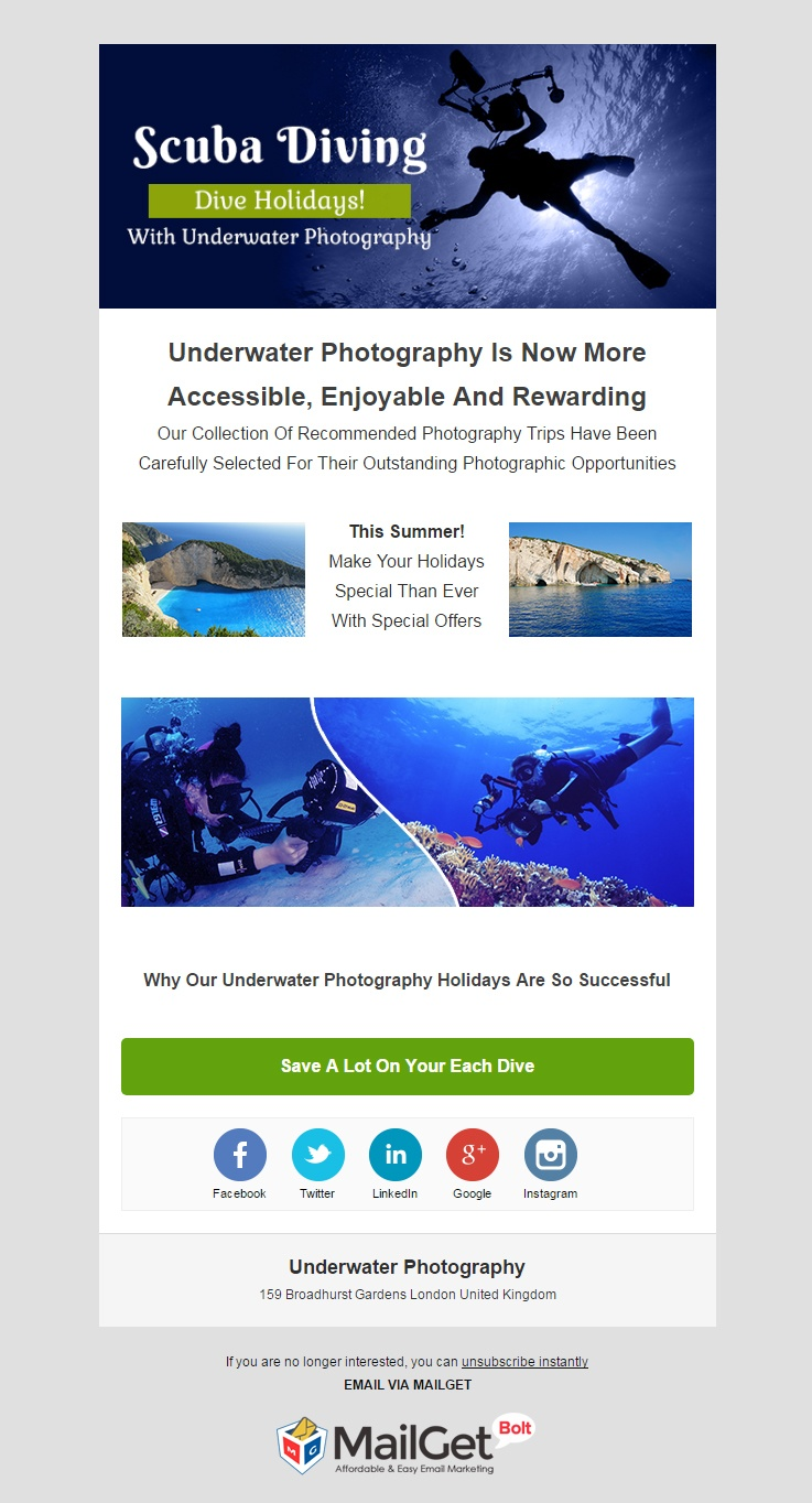 Underwater Photography Email Template