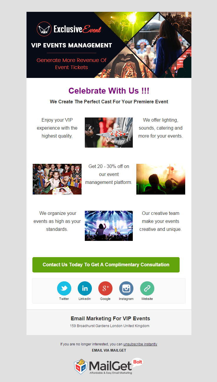 Email marketing 12 best event email templates 2018 formget vip events email template malvernweather Gallery
