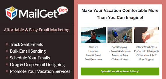 Vacation Service Email Marketing Software For Tour, Travel And Trip Services