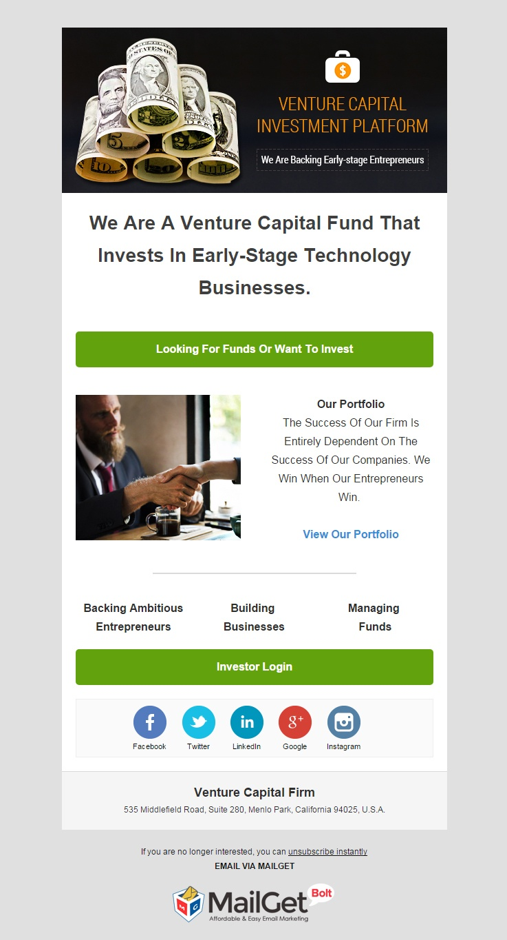Venture Capital Firm Email Template