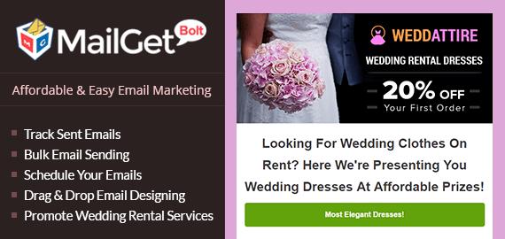 Wedding Cloths Rental Email Marketing Service Slider