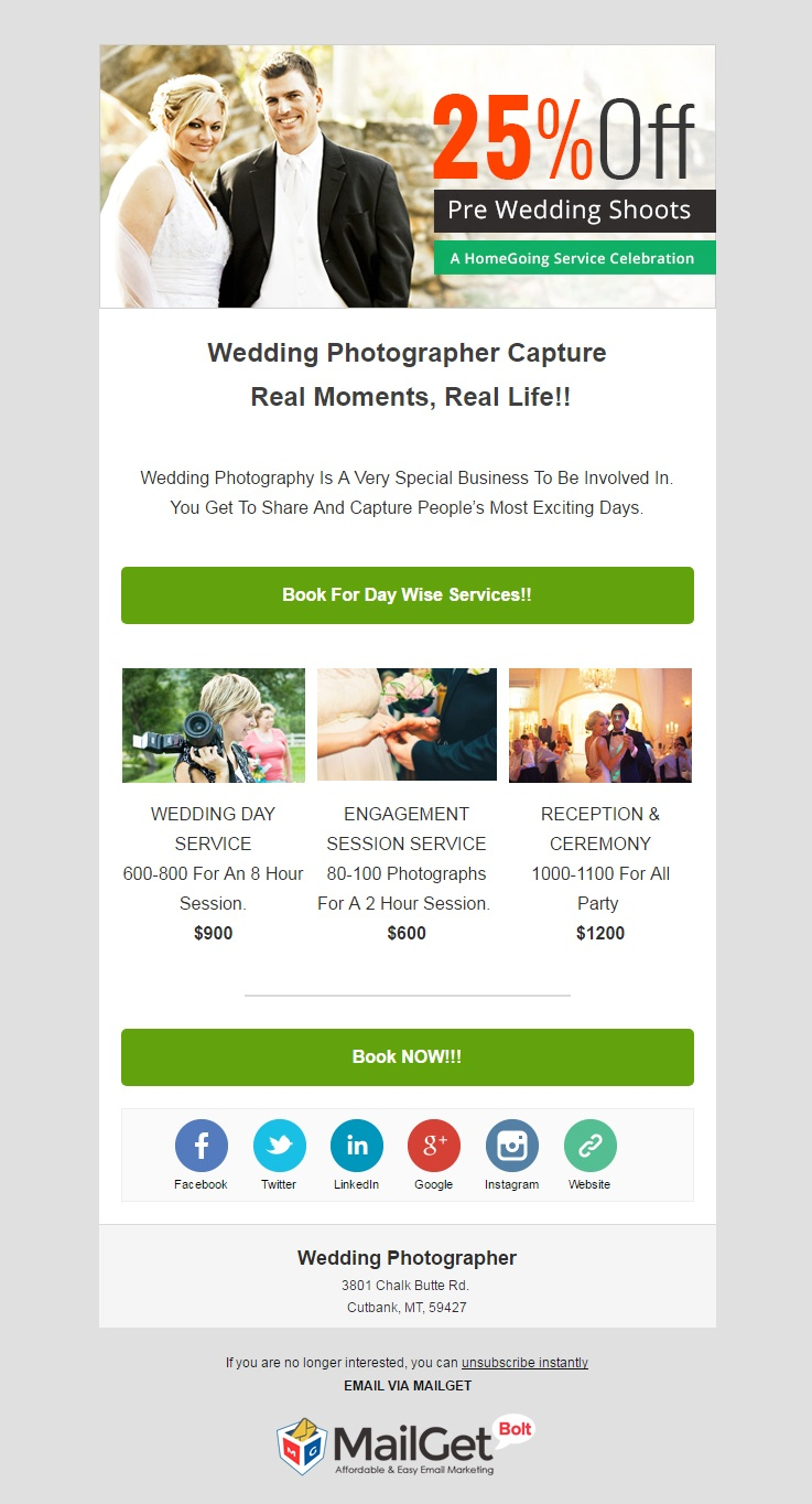 Wedding Photographer Email Template
