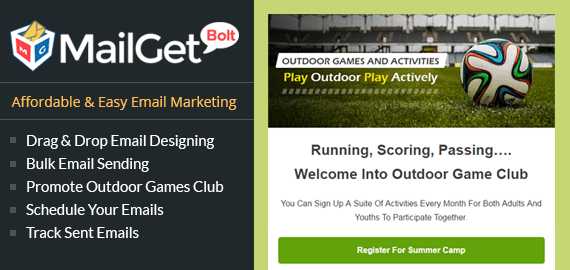 email marketing for Outdoor Games Slider