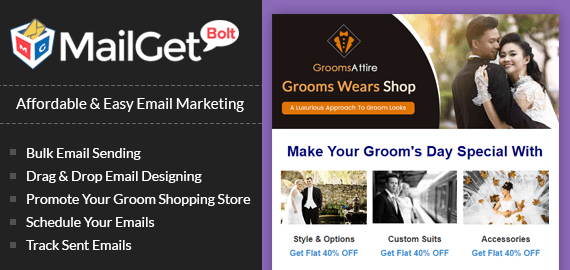 email marketing for groom shopping store banner