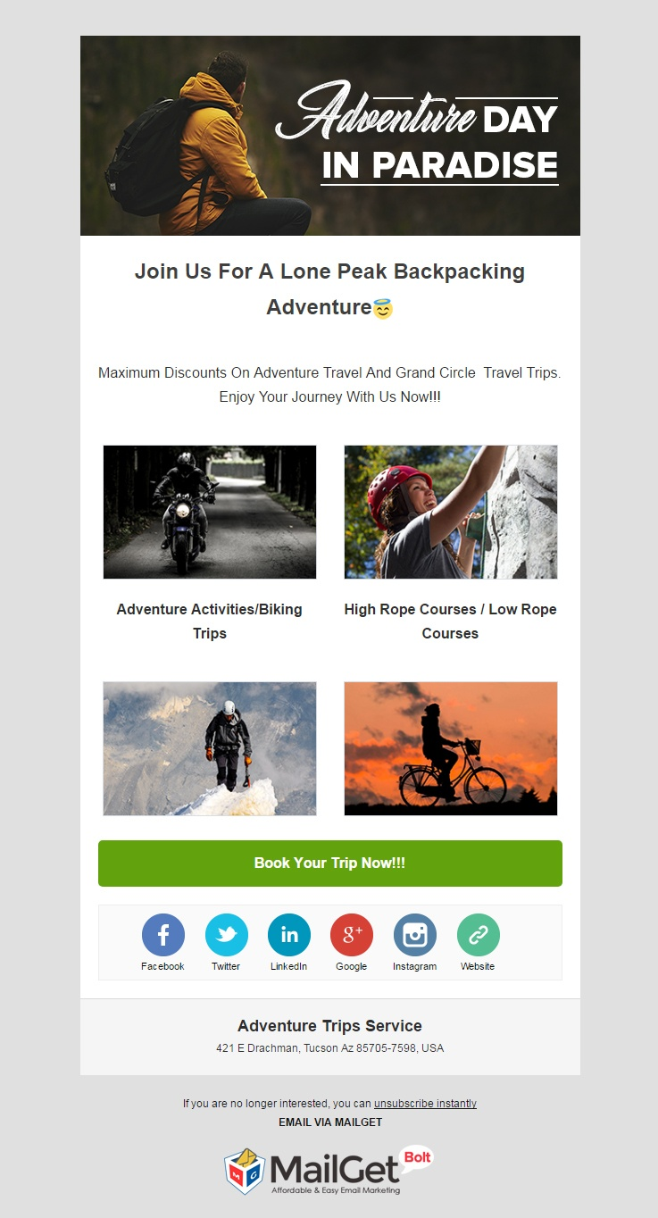 Adventure Trips Service Email Templates