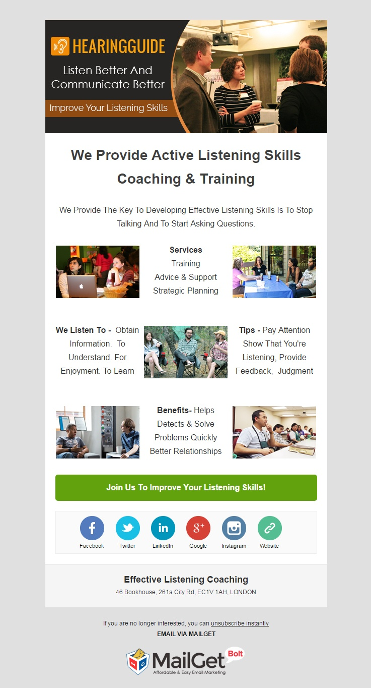 Email Marketing For Effective Listening Coaching Classes