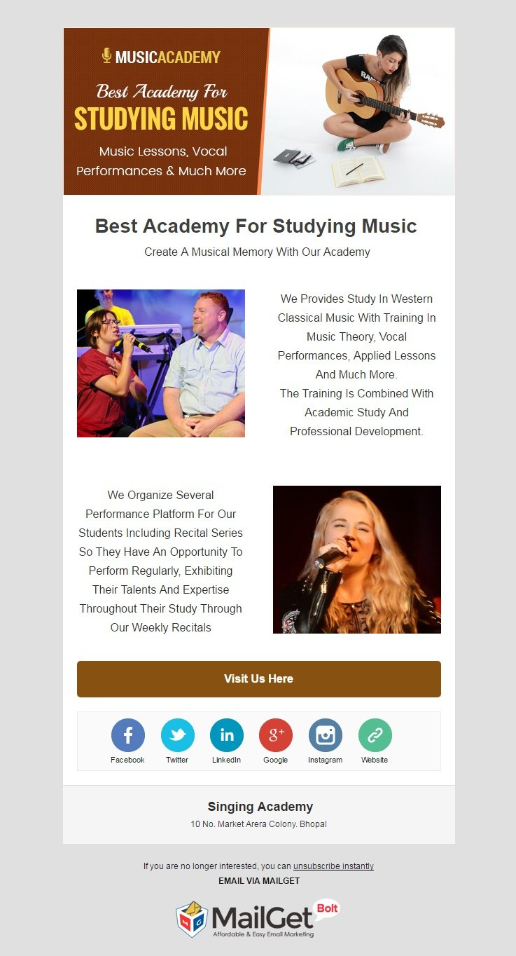 Email Marketing For Singing Academy