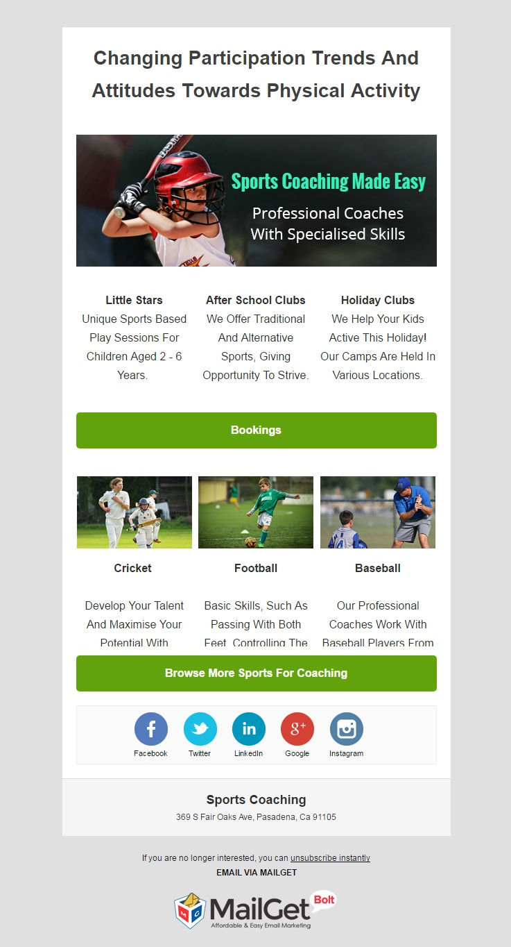 Email Marketing For Sports Coaching