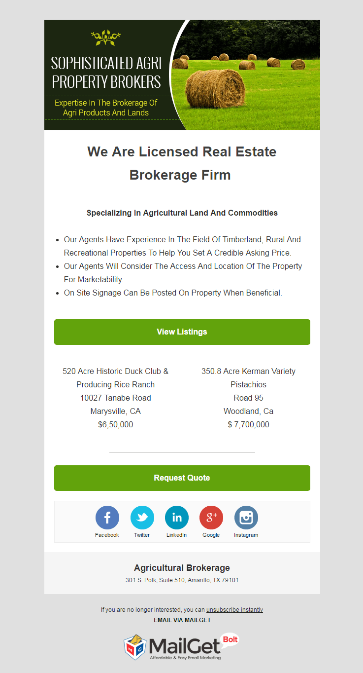 Email Marketing Service For Agriculture Brokers