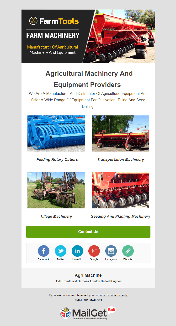 Email Marketing Service For Agro-Machines
