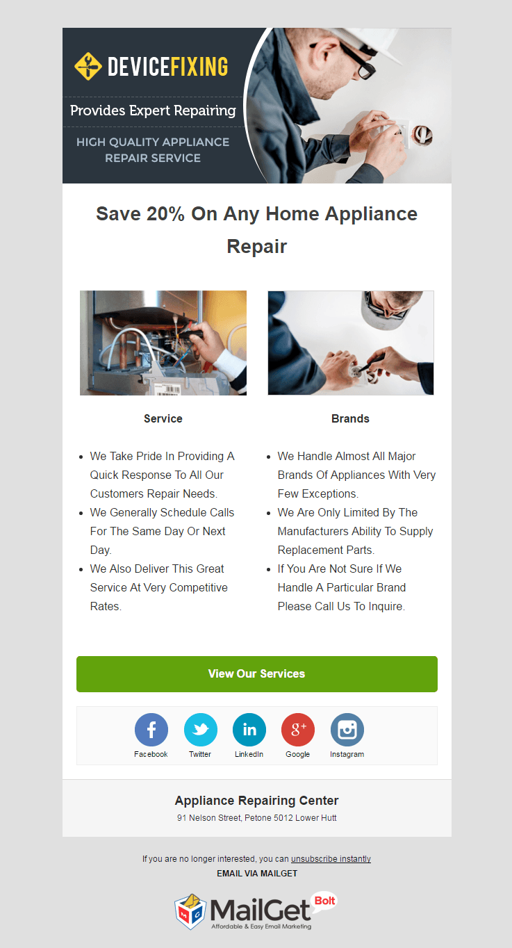 Email Marketing Service For Appliance Repairing Centers
