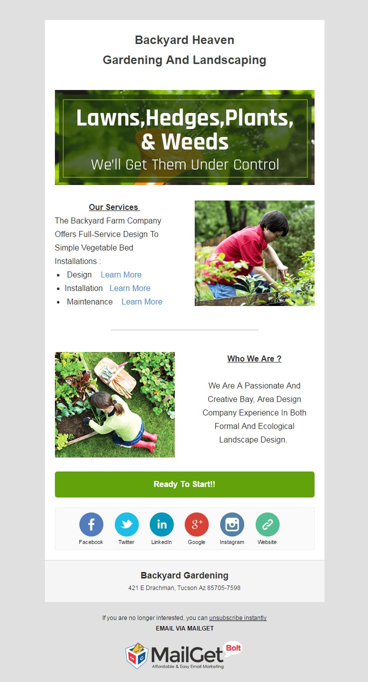Email Marketing Service For Backyard Gardeners